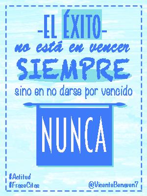 El éxito no está en vencer siempre, sino en no darse por vencido nunca